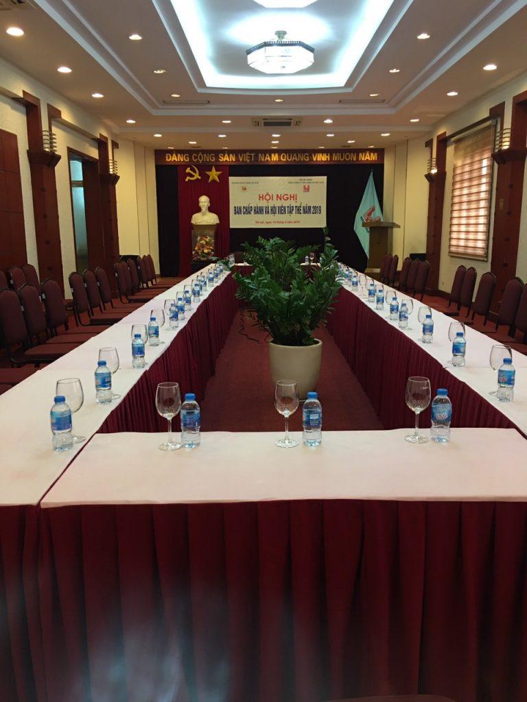 Ảnh chụp hội trường trước giờ diễn ra Hội nghị ban chấp hành và hội viên tập thể Hội Kinh tế xây dựng Việt Nam tại Hancorp