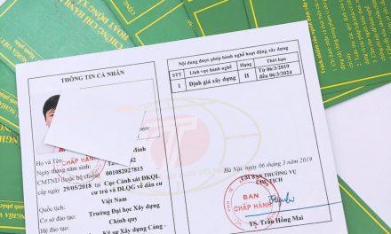 Danh sách các cá nhân được Hội Kinh tế xây dựng Việt Nam cấp chứng chỉ hành nghề đợt 5 ngày 25/01/2019
