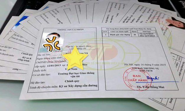 Danh sách các cá nhân được Hội Kinh tế xây dựng Việt Nam cấp chứng chỉ hành nghề (Đợt 21) thi tháng 07/2020